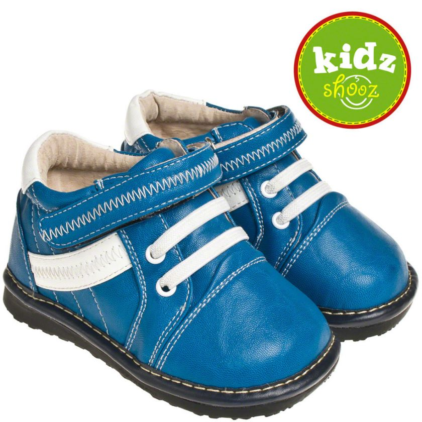 Infant Toddler Leather Squeaky Shoes   Blue with White Stripes