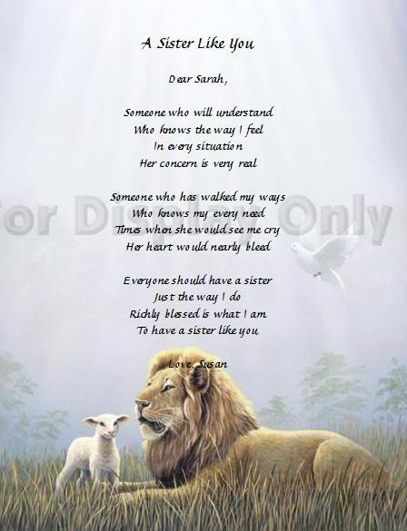 Sister Gift Personalized Poem For Sister Birthday Gift Idea